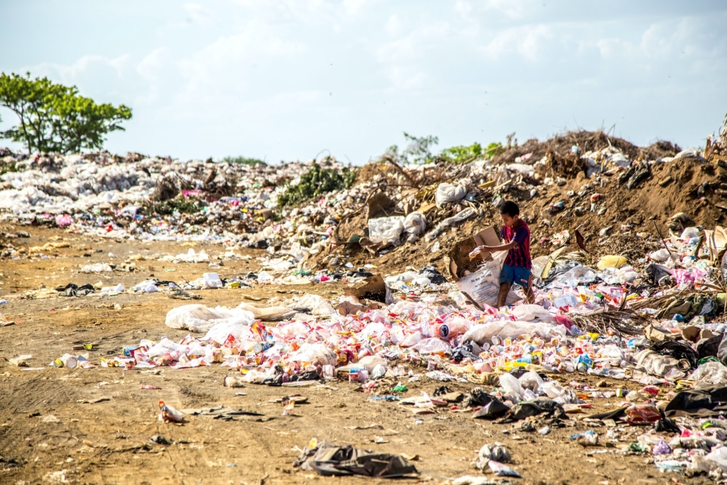 a landfill with food waste